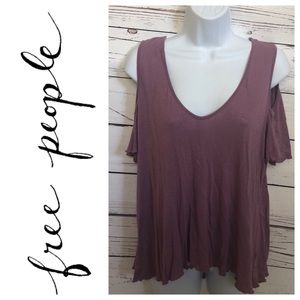 Free People mauve cold shoulder ruffle shirt